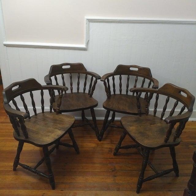 Brown 1950s Vintage Yugoslavian Barrel Back Windsor Captain Chairs - Set of 4 For Sale - Image 8 of 8