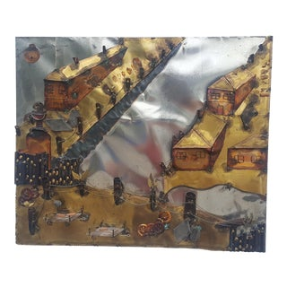 Curtis Jere Style Landscape Abstract Wall Sculpture .