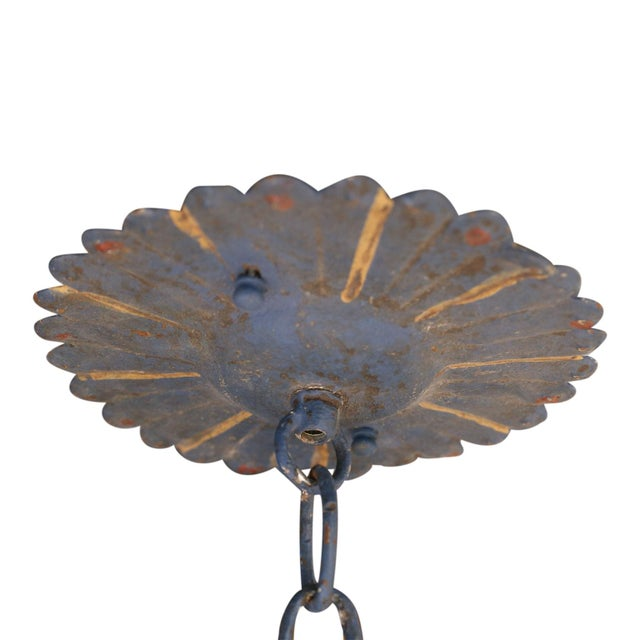 Metal Vintage Painted Tole Chandelier For Sale - Image 7 of 9