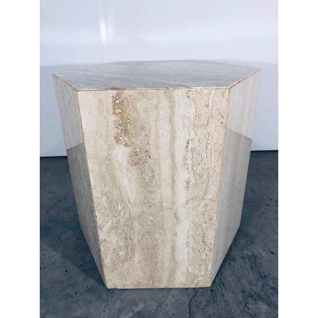 Italian 1970s Mid-Century Modern Hexagonal Italian Travertine Pedestal or Side Table For Sale - Image 3 of 10
