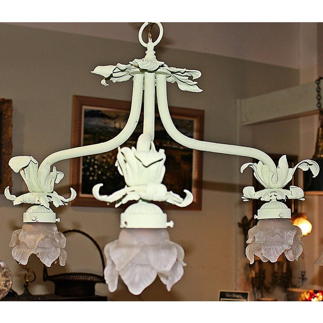 1920s Painted French Wrought Iron Chandelier For Sale In West Palm - Image 6 of 7
