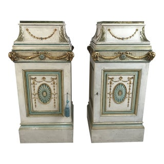 Circa 1920 English Neoclassical Style Painted Pedestals - a Pair For Sale