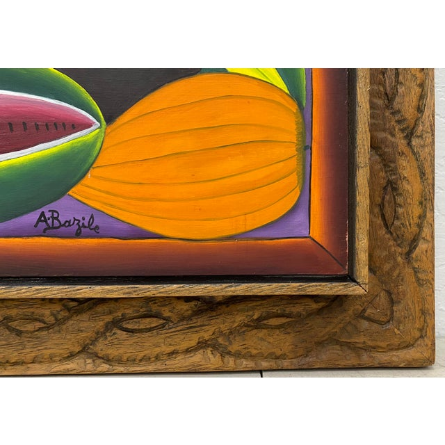 """1970s Haitian Artist Alberoi Bazile """"Fruit"""" Still Life Oil Painting in Hand Carved Frame C.1970 For Sale - Image 5 of 13"""