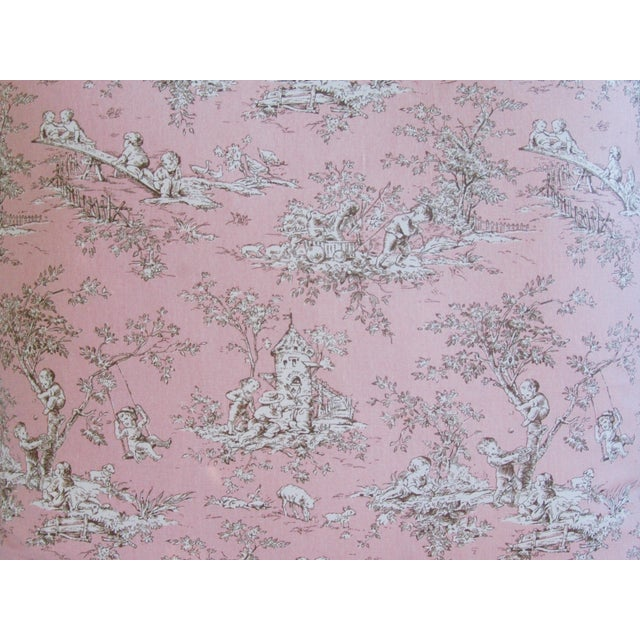 French Pink Toile & Velvet Pillows - A Pair - Image 8 of 11