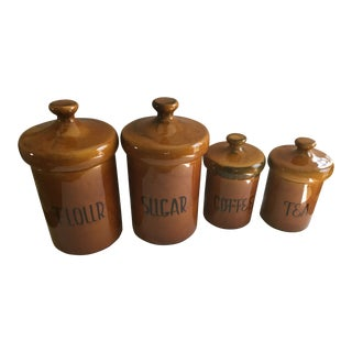 Mid 20th Century Rustic Pottery Canister McCoy Flour Coffee Set - 4 Pieces For Sale