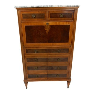 Antique Napoleon III Inlaid Burl Secretaire Dau Abbatant. 1870 For Sale