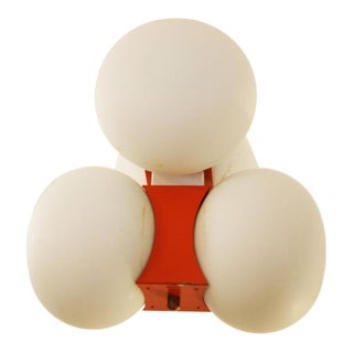 Mid Century hanging lamp with frosted glass balls For Sale