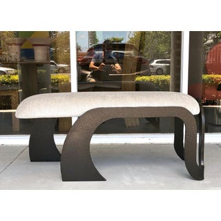 Pair of Abstract Modern Heavy Bronze Enamel Benches Ottomans, 1980s Preview