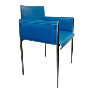 Mid Century Modern Blue Leather & Chrome Arm Chair by Arrben For Sale