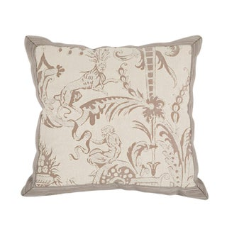 Beige & White Small Fortuny Pillow For Sale