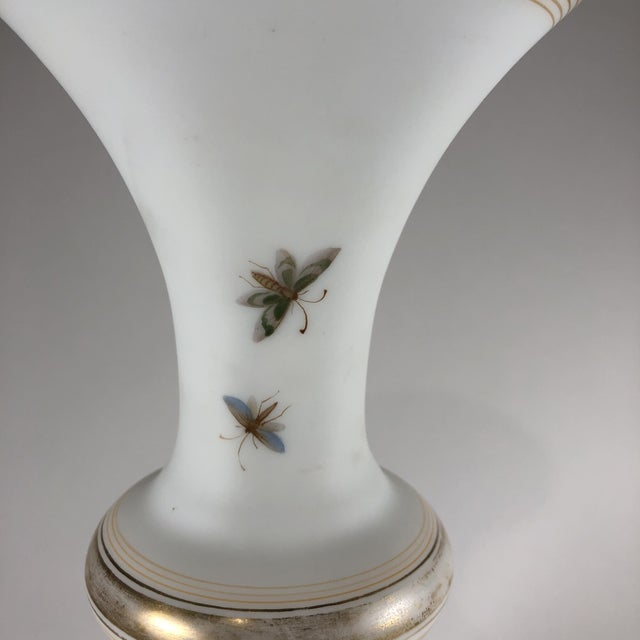 Victorian 19th Century French Hand-Painted Opaline Glass Vase For Sale - Image 3 of 9
