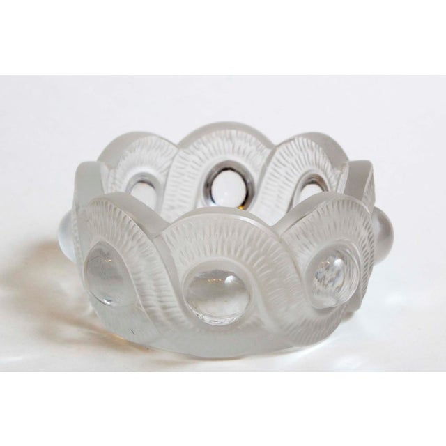 "Lalique ""GAO"" Ashtray Crystal with textured serpentine motif. Made in France. 4"" Diameter x 2"" High"