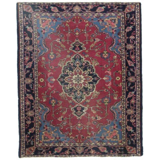 RugsinDallas Antique Turkish Hand Knotted Wool Rug - 5′1″ × 6′6″ For Sale