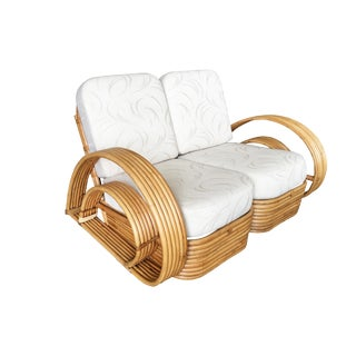 """Restored """"Double Horseshoe"""" Rattan Loveseat Sofa W/ Stacked Base For Sale"""