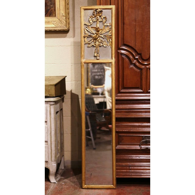Mid-19th Century French Louis XVI Giltwood Trumeau Mirror With Bird Decor For Sale In Dallas - Image 6 of 6