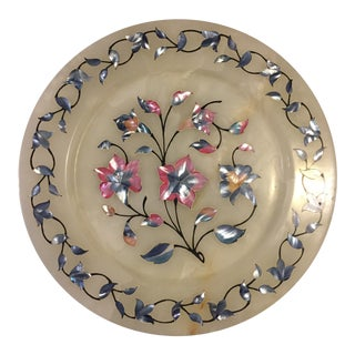 Marble With Colorful Floral Mother of Pearl Inlay Plate For Sale