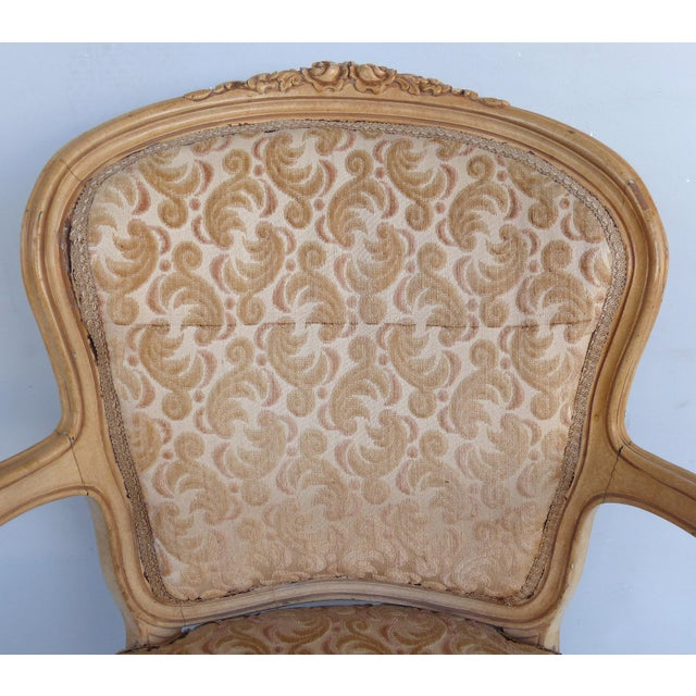 Fabric Antique Louis XV Style Provincial Velvet Fauteuil Armchairs- a Pair For Sale - Image 7 of 13
