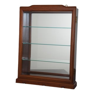 "Asian Modern Mahogany Wall Hanging Curio Cabinet Mirrored Glass Shelf Shadow Box 19"" For Sale"