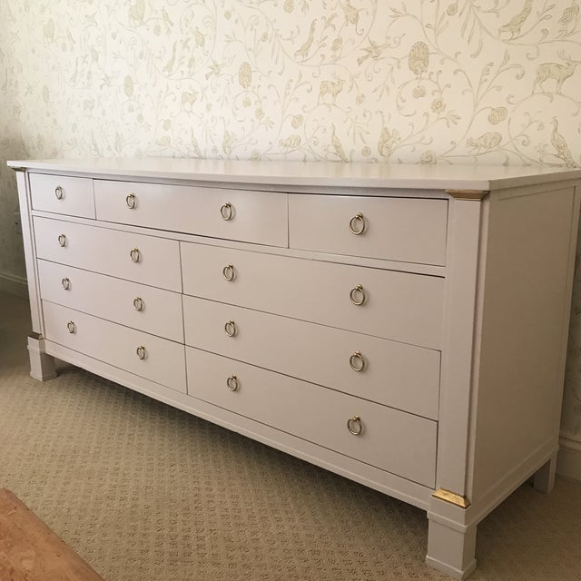 White Vintage Baker Dresser With Brass Accents For Sale - Image 8 of 10