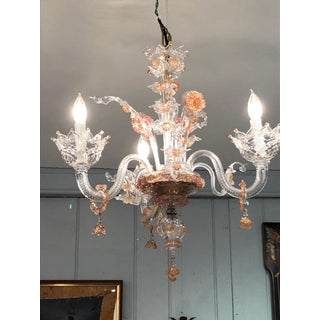 1980s Pink and Clear Floral Murano Glass Chandelier Preview