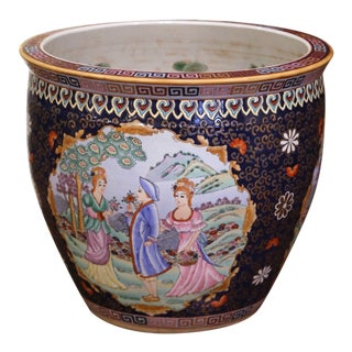 Midcentury Chinese Export Porcelain Fish Bowl With Oriental Decorations For Sale