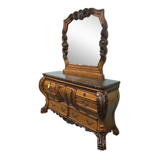 Aico Carved Wood Dresser and Mirror For Sale