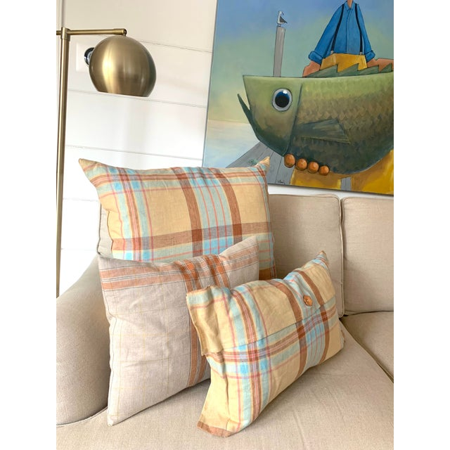 Transitional Linen Tea Towel Pillows- Set of 3 For Sale - Image 3 of 7