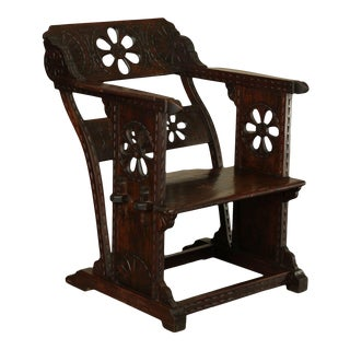 Italian 15th Century Revival Low Wooden Arm Chair For Sale