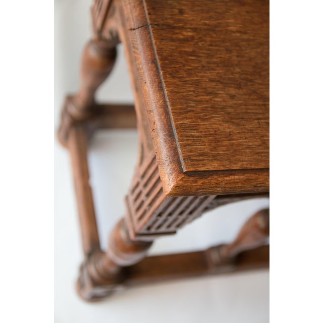 Brown 19th-Century Antique French Carved Oak Bench For Sale - Image 8 of 10