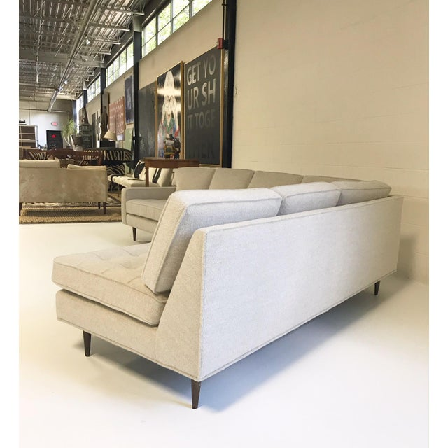 Vintage Mid-Century 2-Piece Sectional Sofa Restored in Gray Loro Piana Alpaca Wool For Sale In Saint Louis - Image 6 of 13