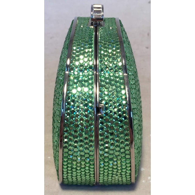 Green Judith Leiber Green Swarovski Crystal Minaudiere Evening Bag For Sale - Image 8 of 9