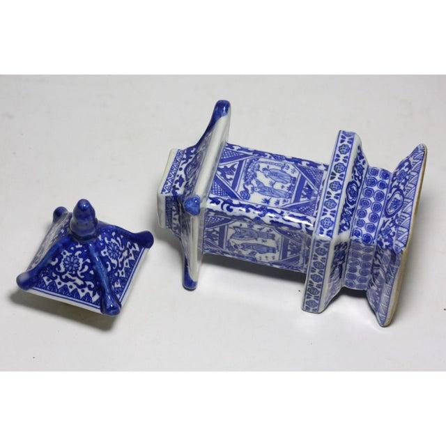 Chinese Blue & White Pagoda Jar - Image 3 of 4
