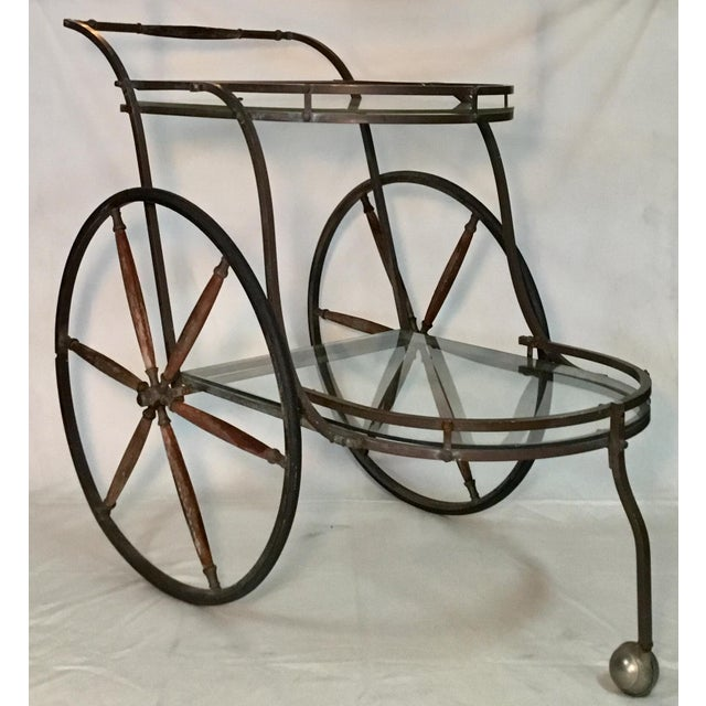 1950s Bronze and Glass Bar Cart With Wooden Spoked Wheels For Sale - Image 10 of 13
