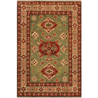 Kazak Garish Rich Green/Ivory Wool Rug - 3'10 X 5'10