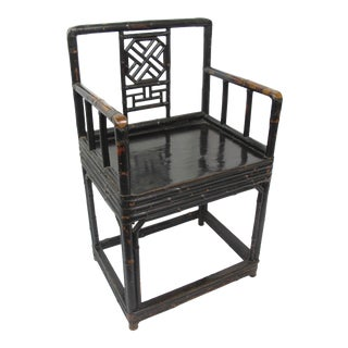 Mid-19th Century Qing Dynasty Bamboo and Lacquer Chair For Sale