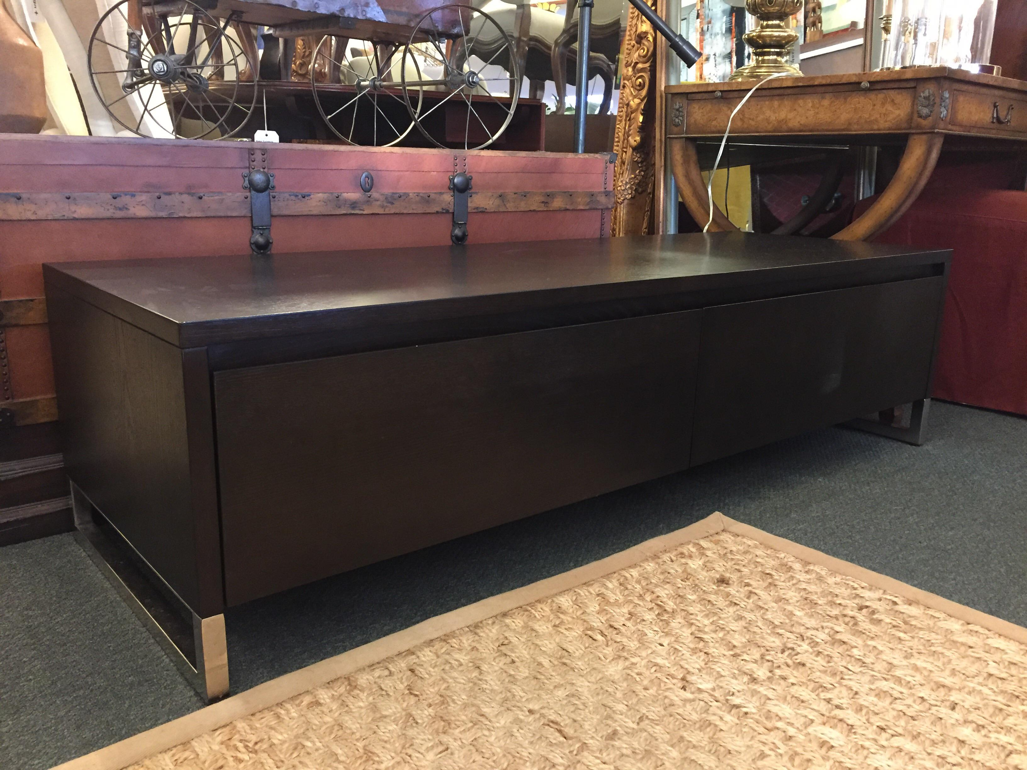 Offered Is A Long And Low Media Console From West Elm. Rich Dark Finish With