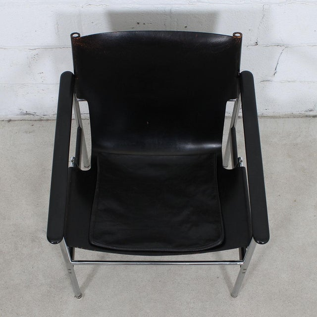 Knoll Leather & Chrome Sling Chair, #657, by Charles Pollack for Knoll For Sale - Image 4 of 10