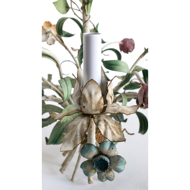 French Vintage Shabby Tole Flower Chandelier For Sale - Image 3 of 9
