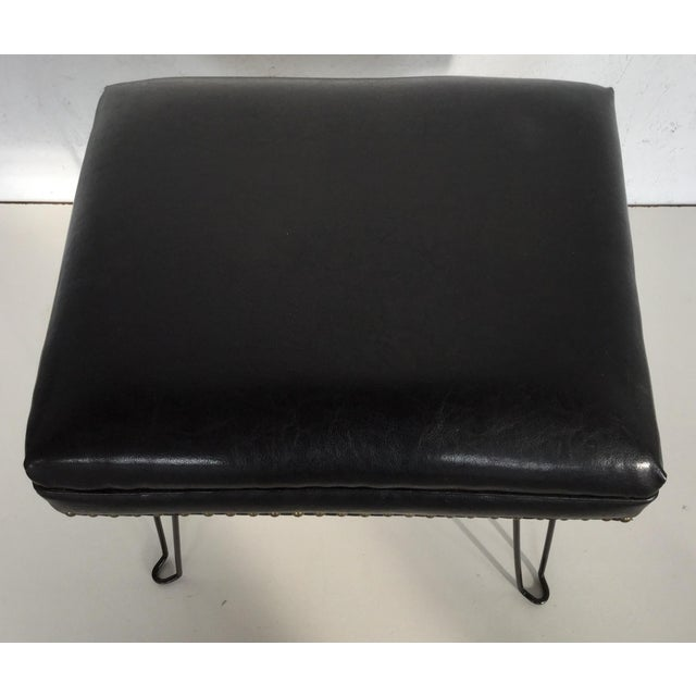 Modern Black Leather Occasional Stool Folding Legs For Sale - Image 4 of 11