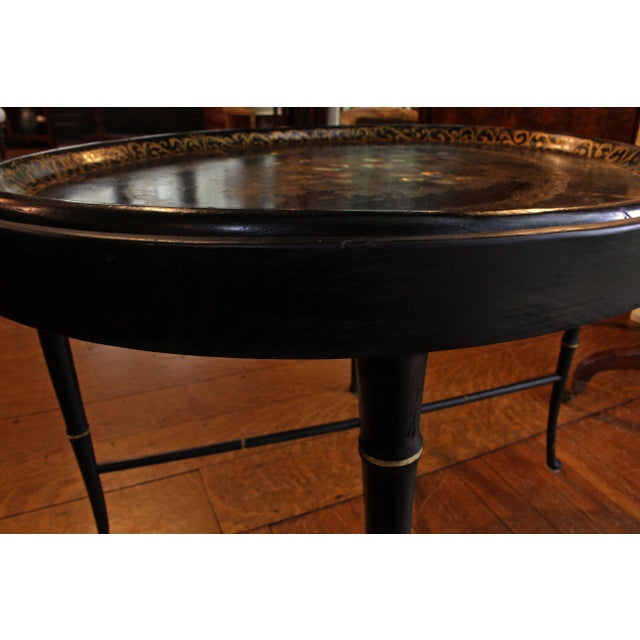 19th Century English Oval Tray on Custom Stand For Sale - Image 4 of 8