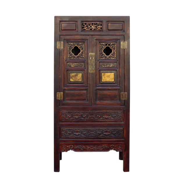 Chinese Fujian Brown Golden Carving Graphic Armoire Storage Cabinet For Sale