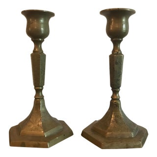 1940s Vintage Brass Candlesticks - a Pair For Sale