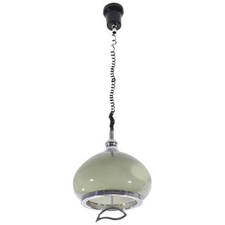 20th Century Vintage Adjustable Glass Pendant Light, 1970s For Sale