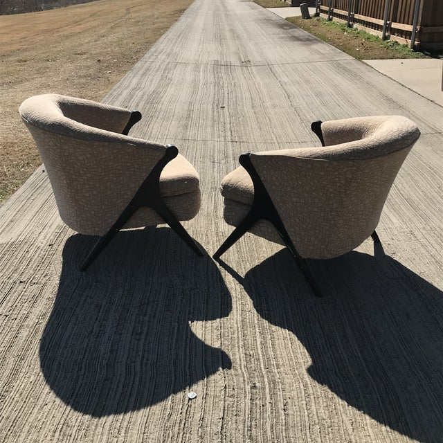 Wood Mid Century Modern Karpen Bros Style Club Chairs - a Pair For Sale - Image 7 of 8