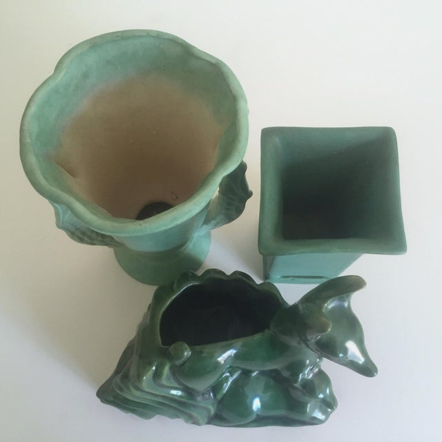 Rare Vintage 1930's Art Deco Niloak Green Art Pottery - Set of 3 For Sale - Image 9 of 11