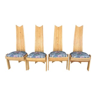 Mid CenturyBamboo Dining Chairs - Set of 4 For Sale