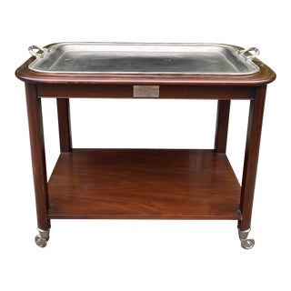 Hickory Chair Mahogany & Pewter Hotel Trolley Serving Cocktail Cart For Sale
