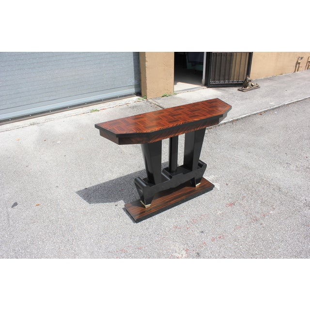 1940s French Art Deco Macassar Ebony Console Table For Sale - Image 12 of 13