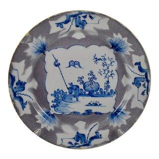 18th C. English Bristol Delftware Blue & Manganese Shallow Bowl