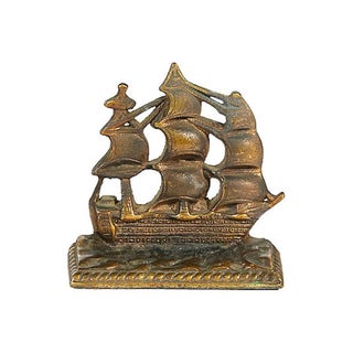 1950s Brass Pirate Ship Bookends, Pair Preview